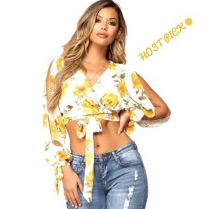 Tops - Floral Cropped Blouse Ivory Yellow Summer Tied Top